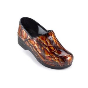 Dansko Tigers Eye Print Patent Leather Clogs 36